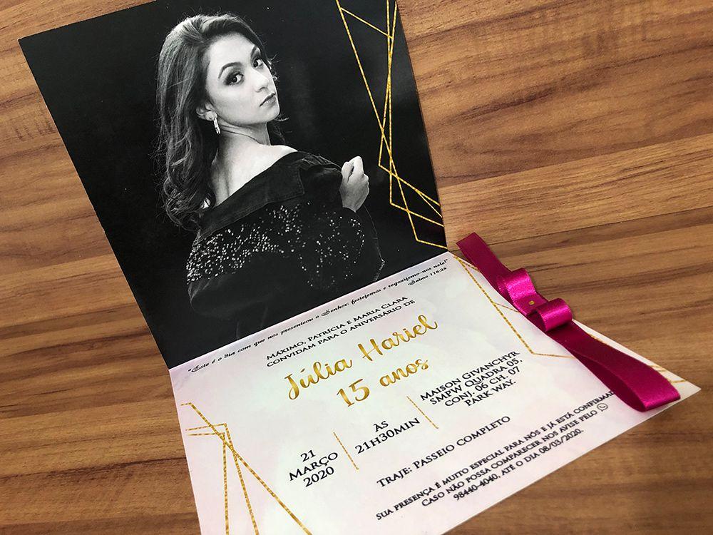 Convite de 15 anos com Hot Stamping