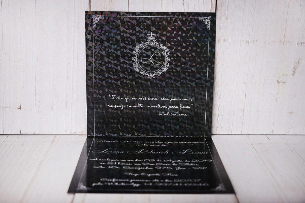Convite de 15 anos Holográfico com Hot Stamping