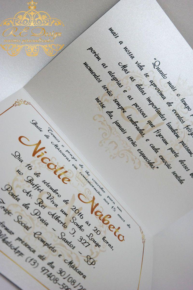 Convite de 15 anos Papel Brilhante