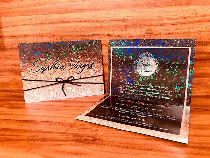 Convite de 15 anos Papel Holográfico