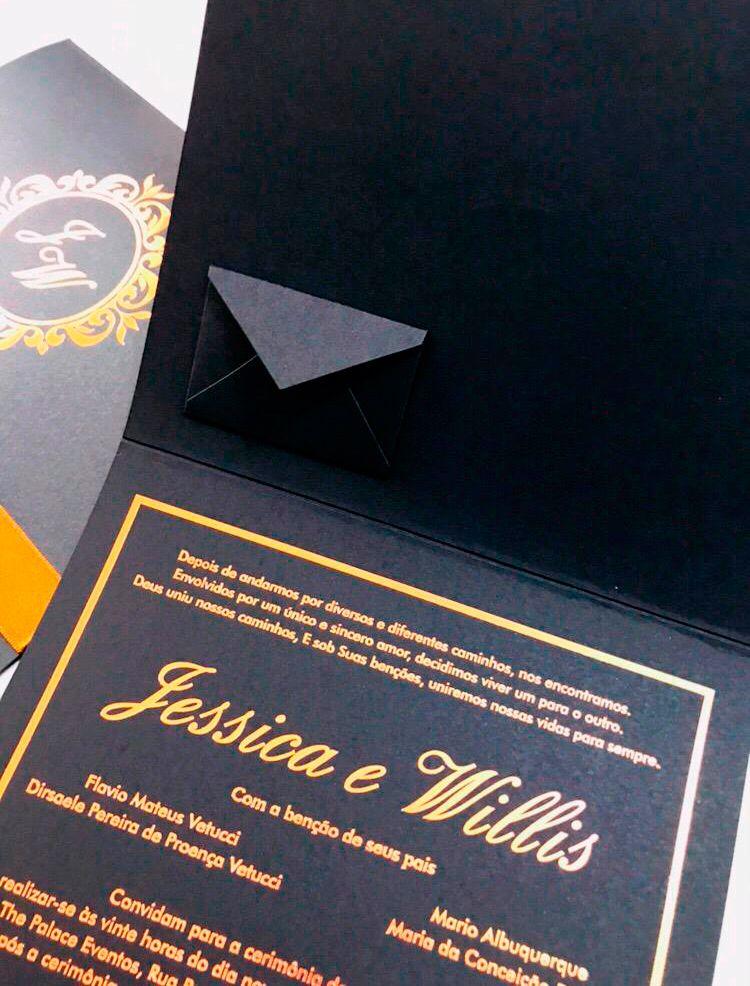 Convite de Casamento Acoplado (500 gramas) com Hot Stamping
