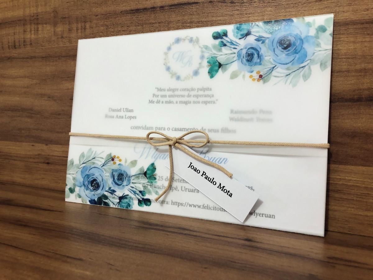 Convite de Casamento Azul Serenity em Papel Vegetal