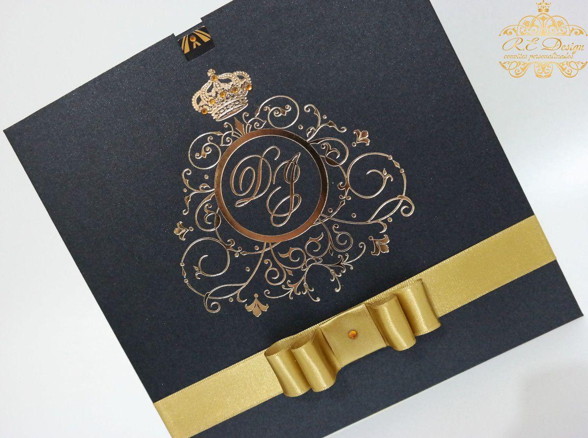 Convite de Casamento com Envelope e Hot Stamping