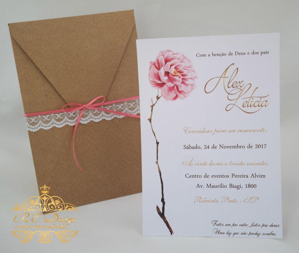 Convite de Casamento com Envelope e Renda