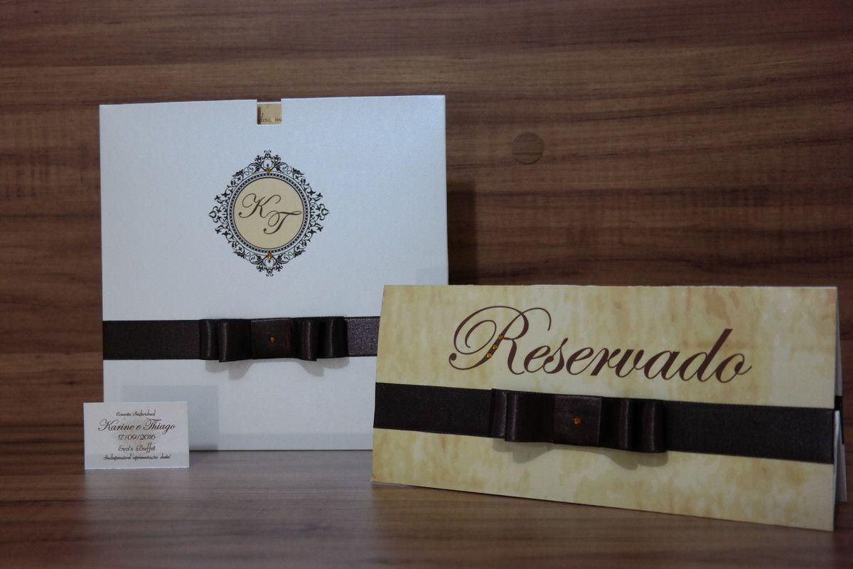 Convite de Casamento com Envelope Papel Brilhante