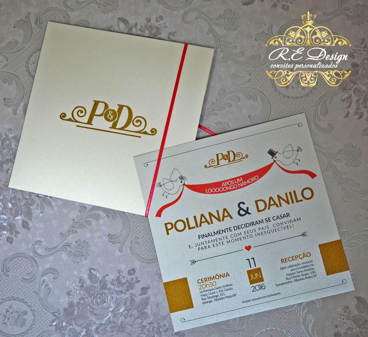 Convite de Casamento com Envelope Papel Markatto com Hot Stamping