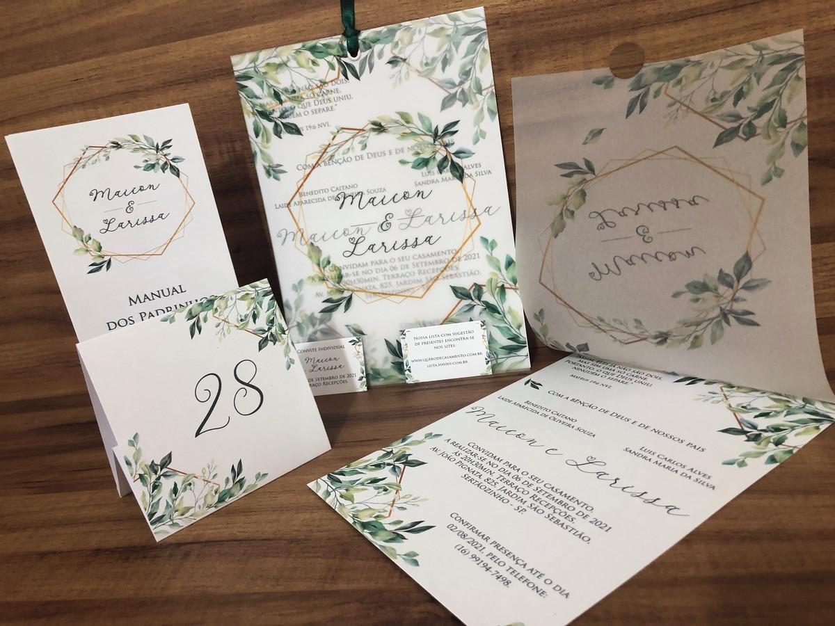 Convite de Casamento com Folhagem em Papel Vegetal