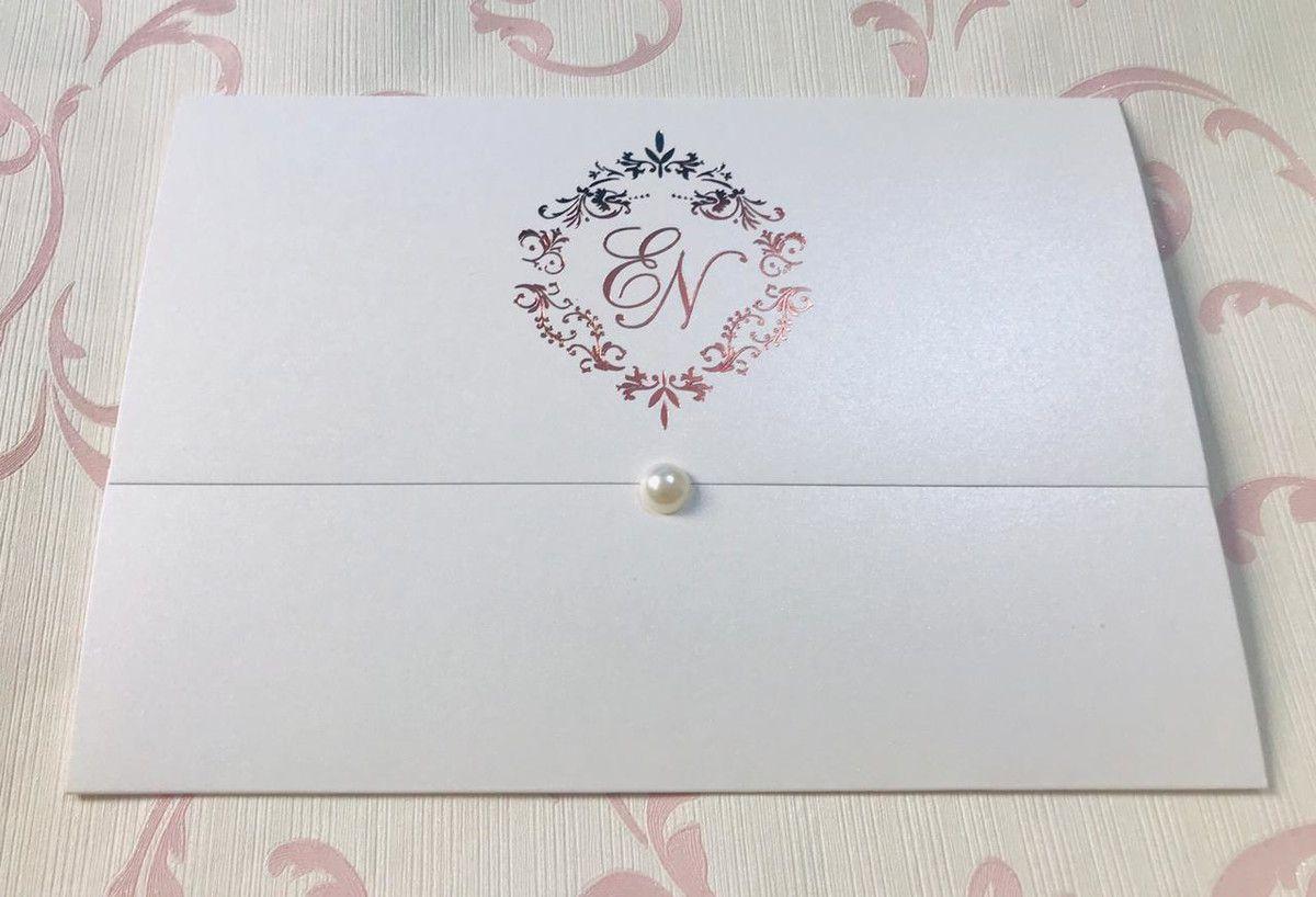 Convite de Casamento com Hot Stamping e Papel Brilhante