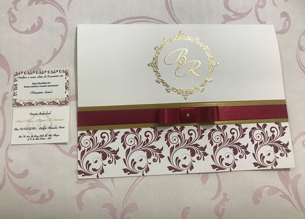Convite de Casamento com Relevo Seco e Hot Stamping