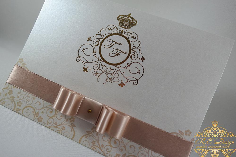 Convite de Casamento em Papel Brilhante e Hot Stamping