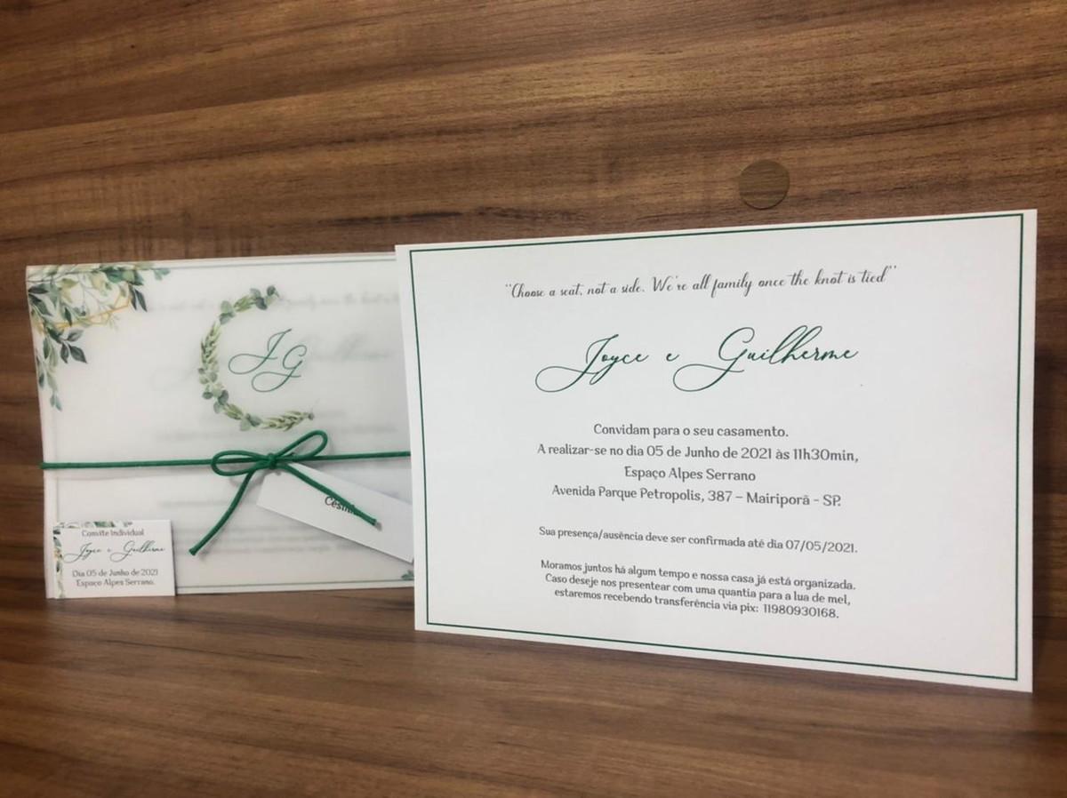 Convite de Casamento em Papel Vegetal