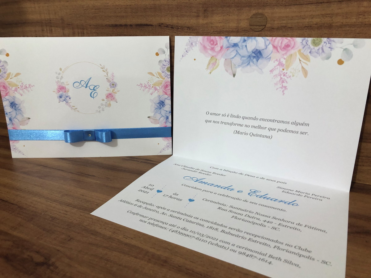 Convite de Casamento Floral Candy Color