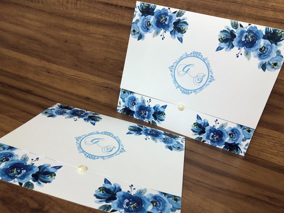Convite de Casamento Floral com Meia Pérola
