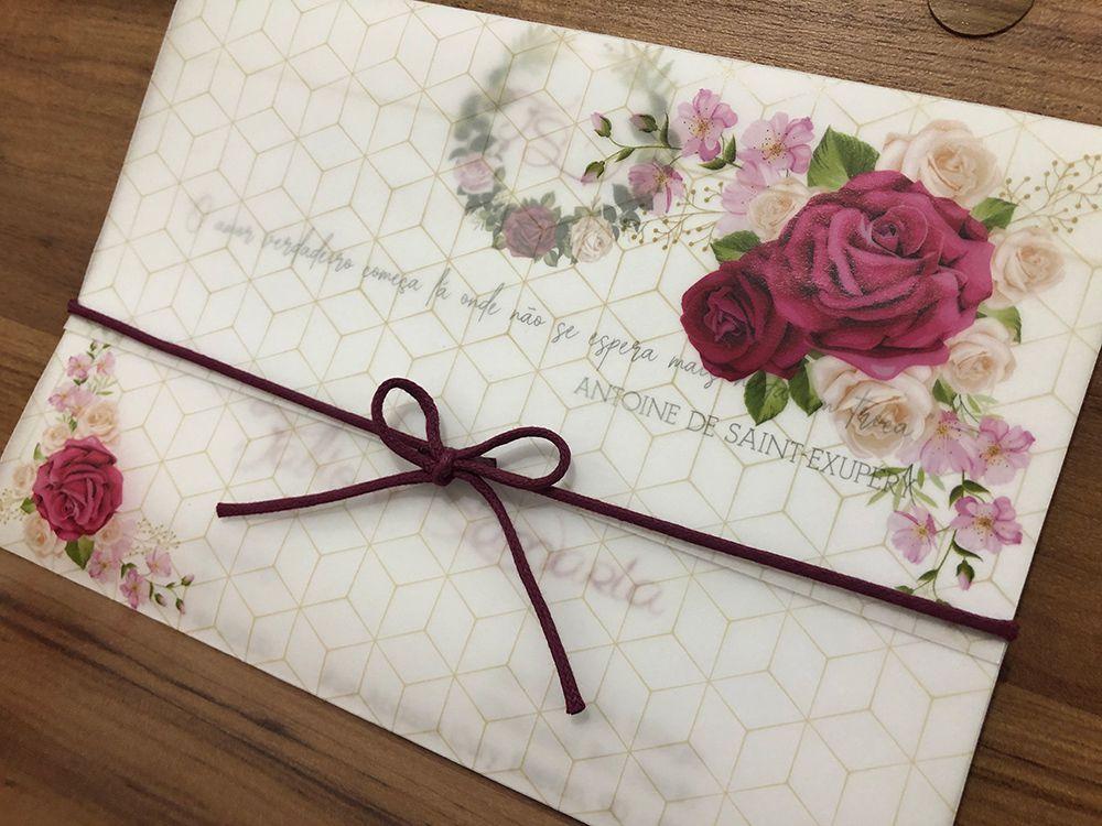 Convite de Casamento Floral Papel Vegetal