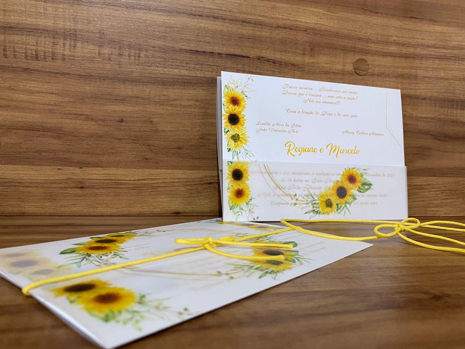 Convite de Casamento Girassol em Papel Vegetal