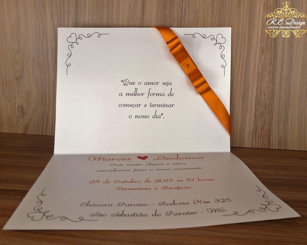 Convite de Casamento Papel Brilhante