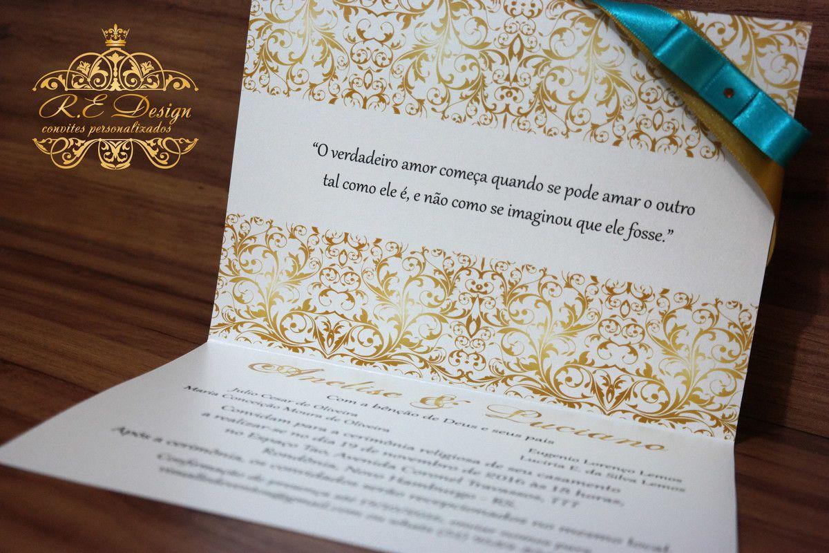 Convite de Casamento Papel Brilhante com Hot Stamping