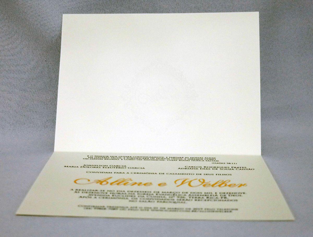 Convite de Casamento Papel Markatto com Relevo Seco e Hot Stamping