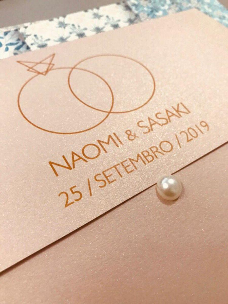 Convite de Casamento Papel Nude Brilhante