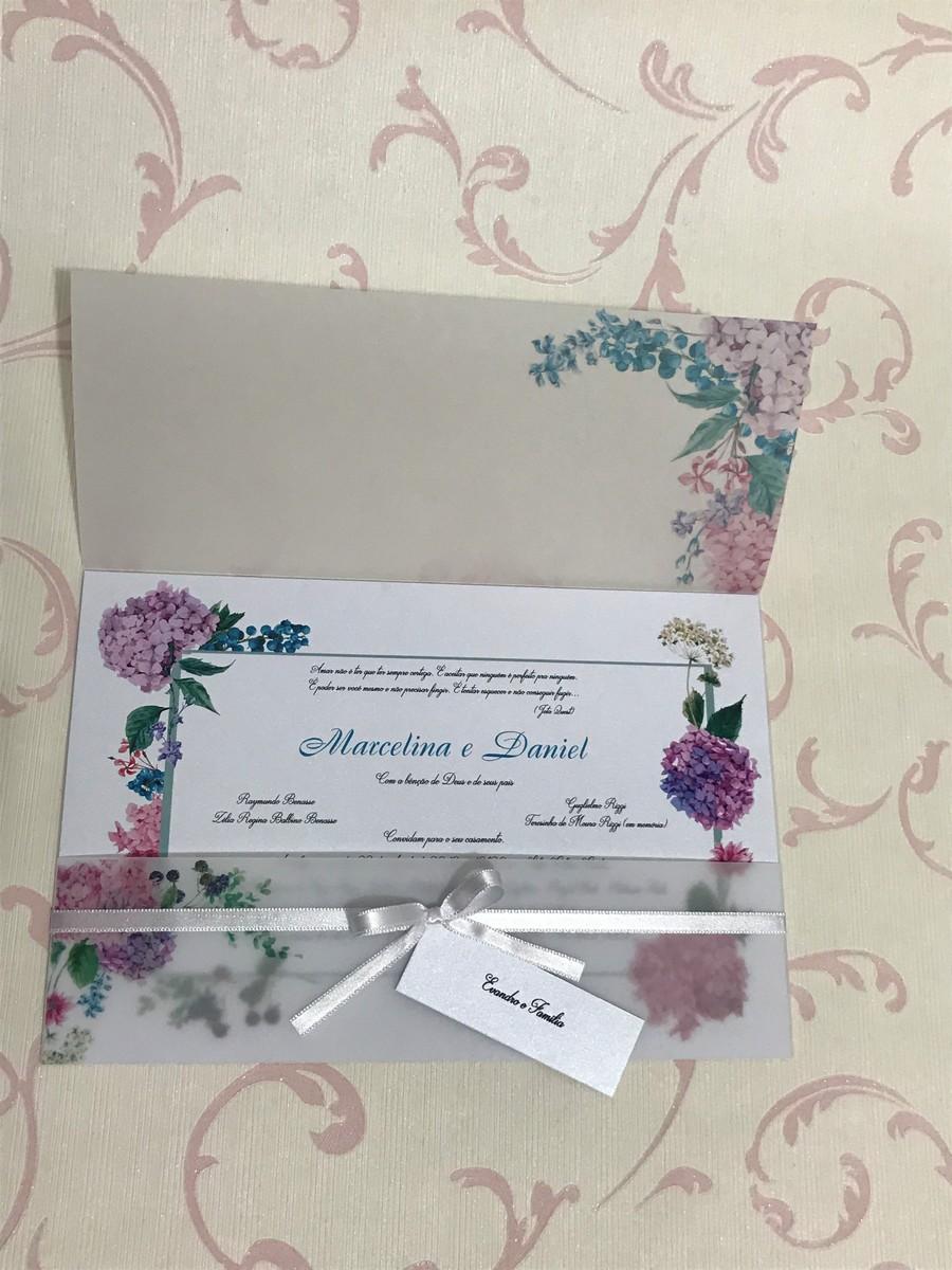 Convite de Casamento Papel Vegetal