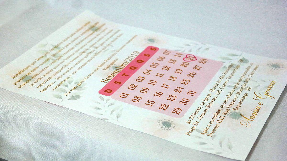 Convite de Casamento Pergaminho Floral