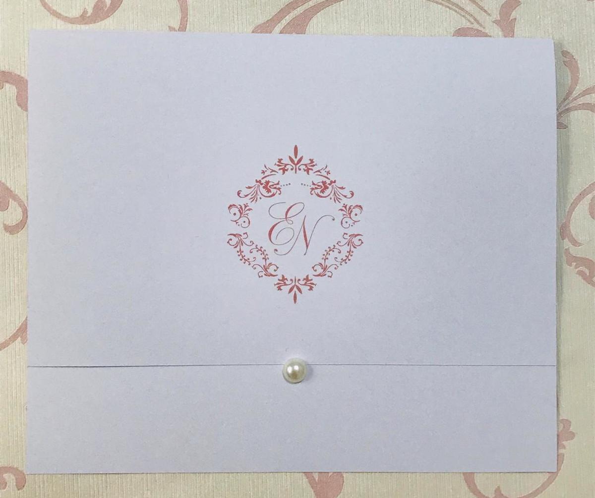 Convite de Casamento Rosê com Meia Pérola