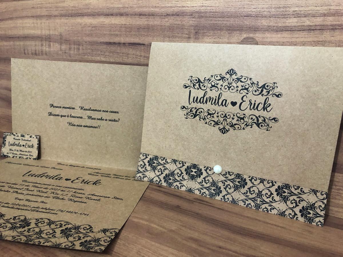 Convite de Casamento Rústico com Meia Pérola