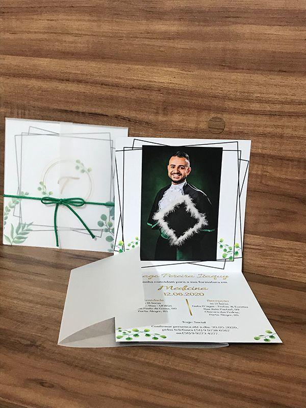 Convite de Formatura com Envelope Papel Vegetal