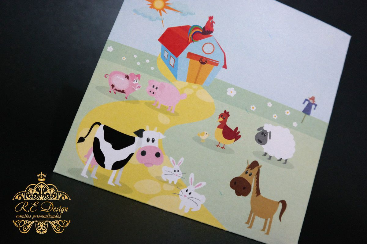 Convite Infantil Fazendinha com Envelope