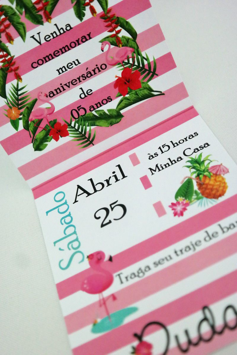 Convite Infantil Flamingo