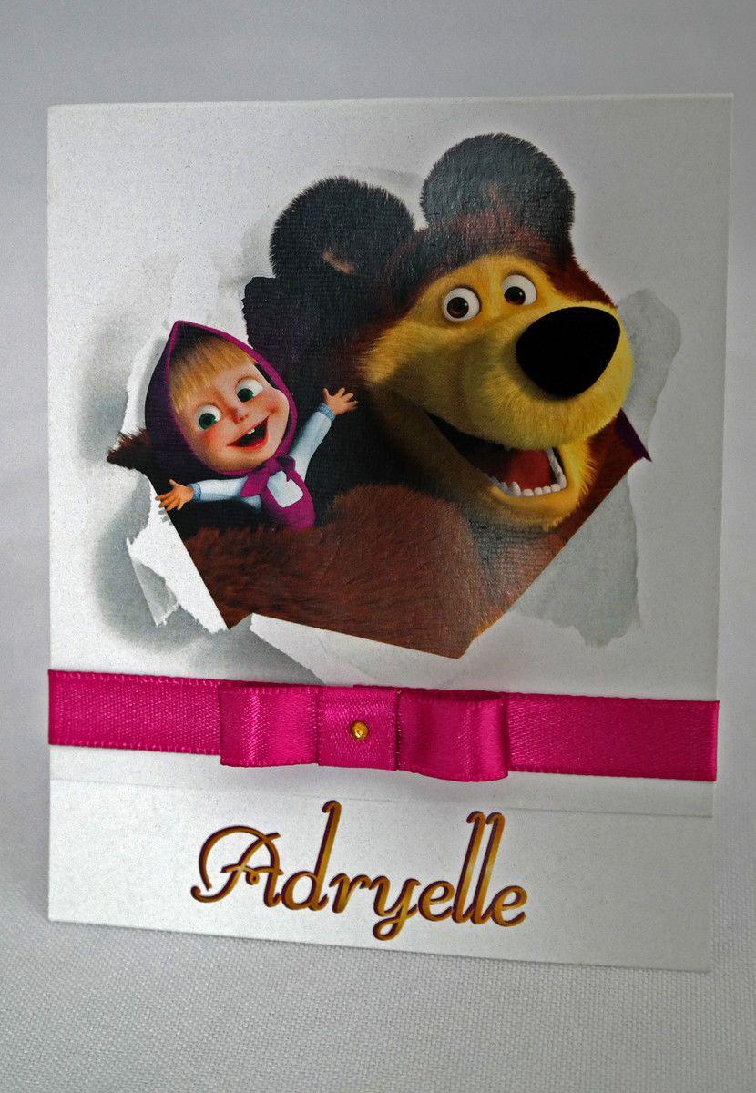 Convite Infantil Masha e o Urso