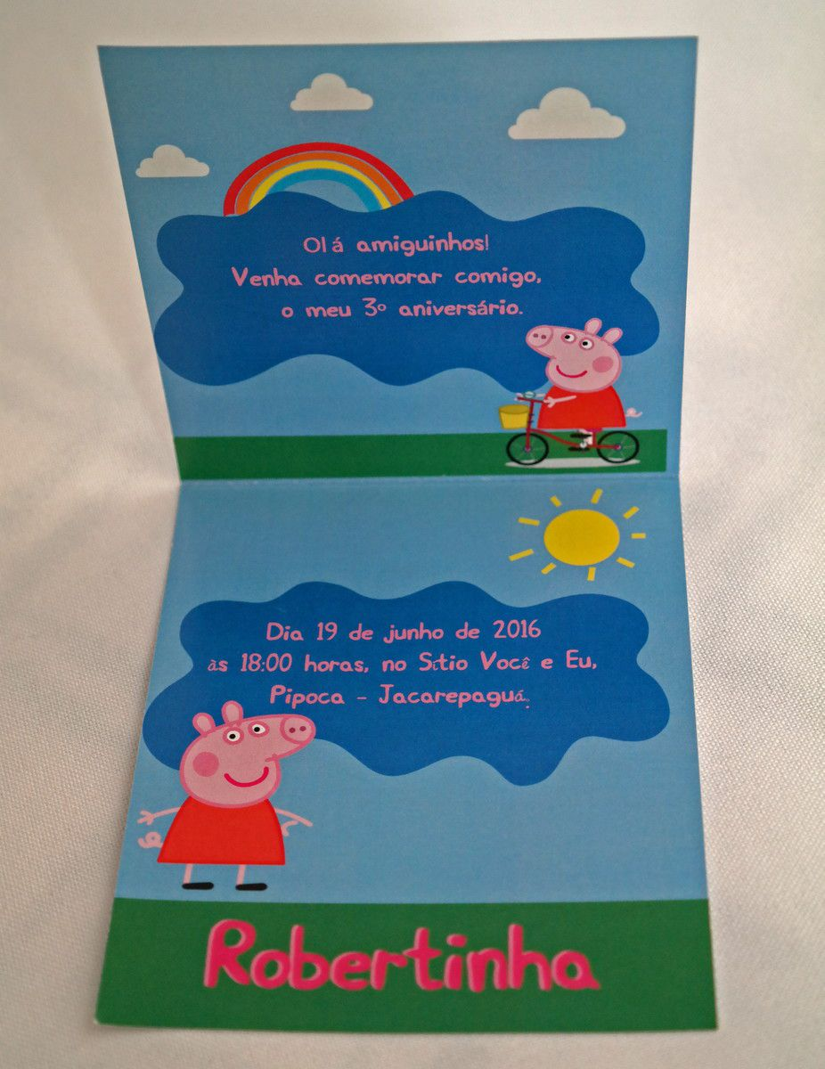 Convite Infantil Peppa Pig