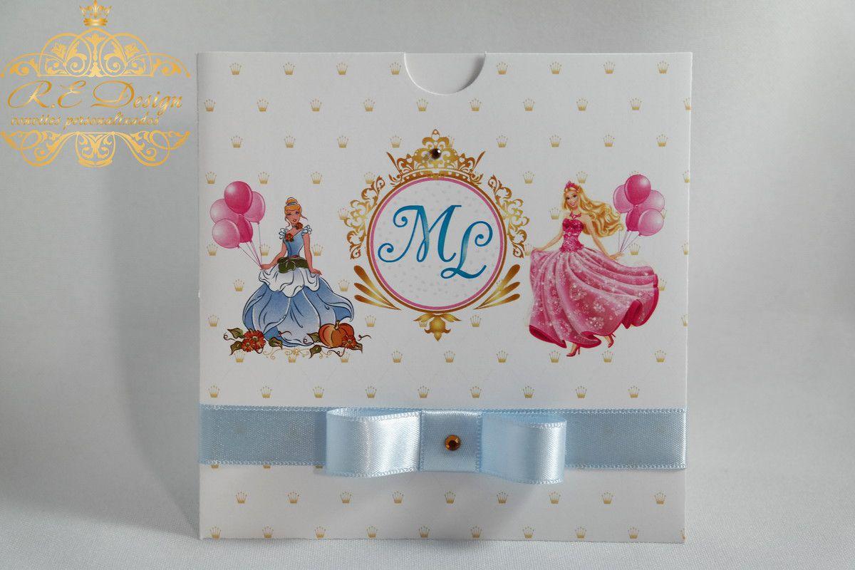 Convite Infantil Princesas Disney com Envelope