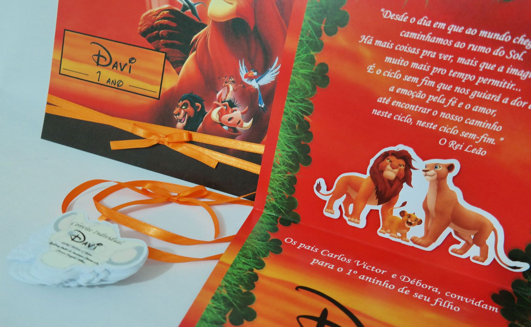 Convite Infantil Rei Leão