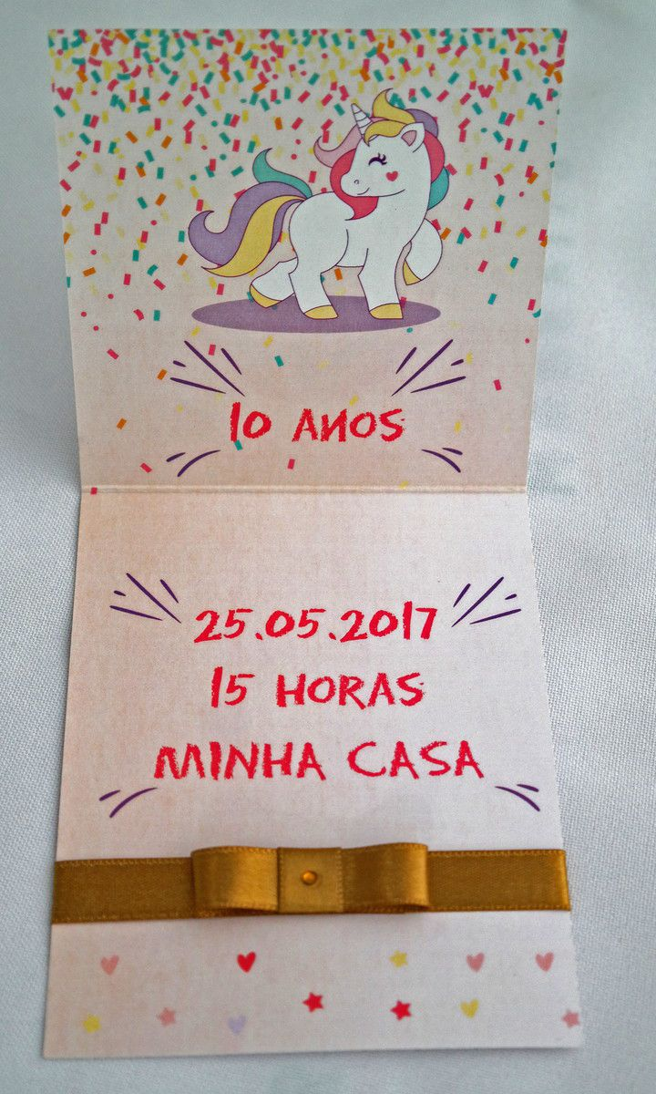 Convite Infantil Unicórnio