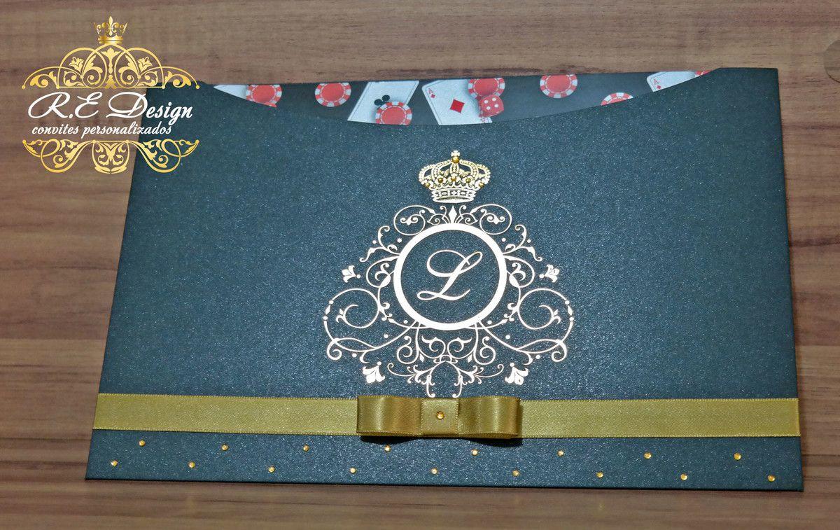 Convite para 15 anos com Envelope Papel Brilhante e Hot Stamping