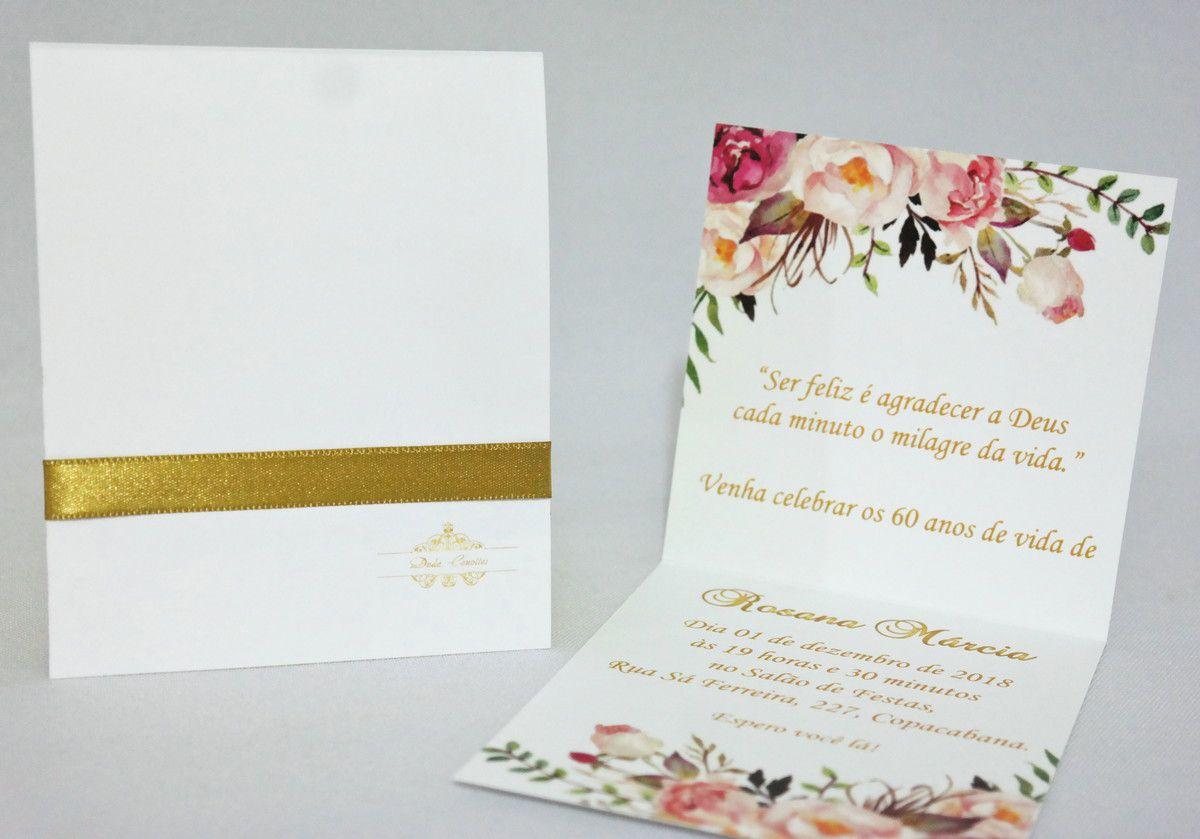 Convite para Aniversário Floral