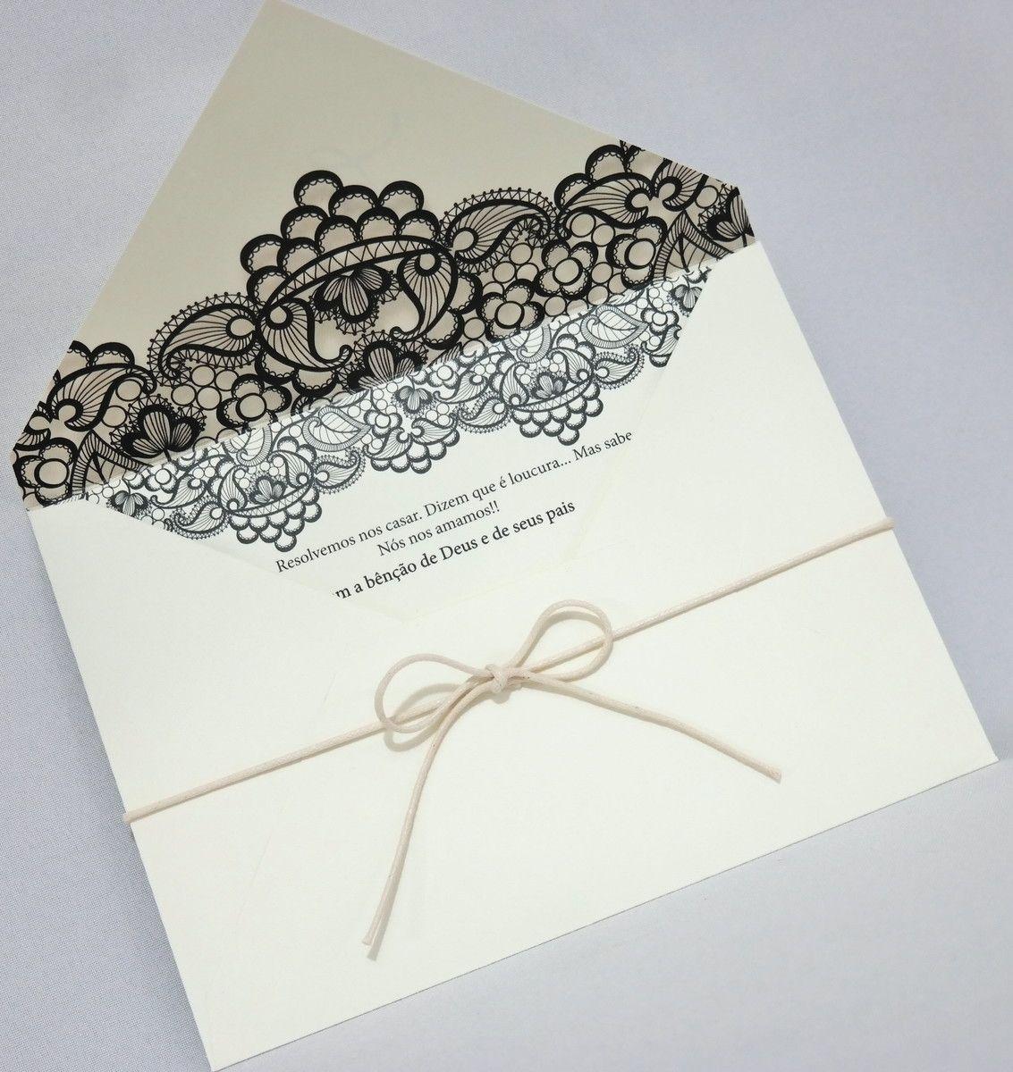 Convite para Casamento com Envelope Papel Markatto