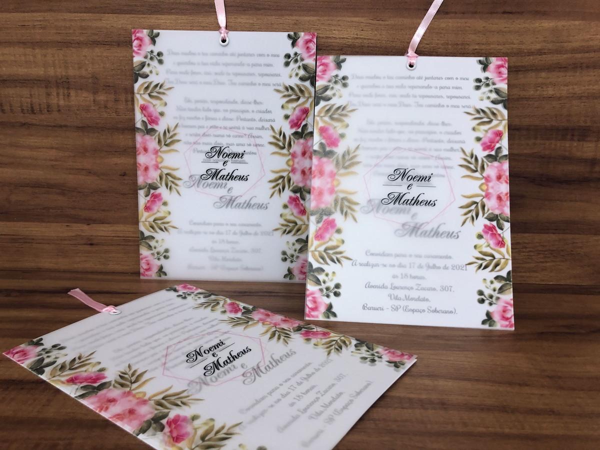 Convite para Casamento em Papel Vegetal
