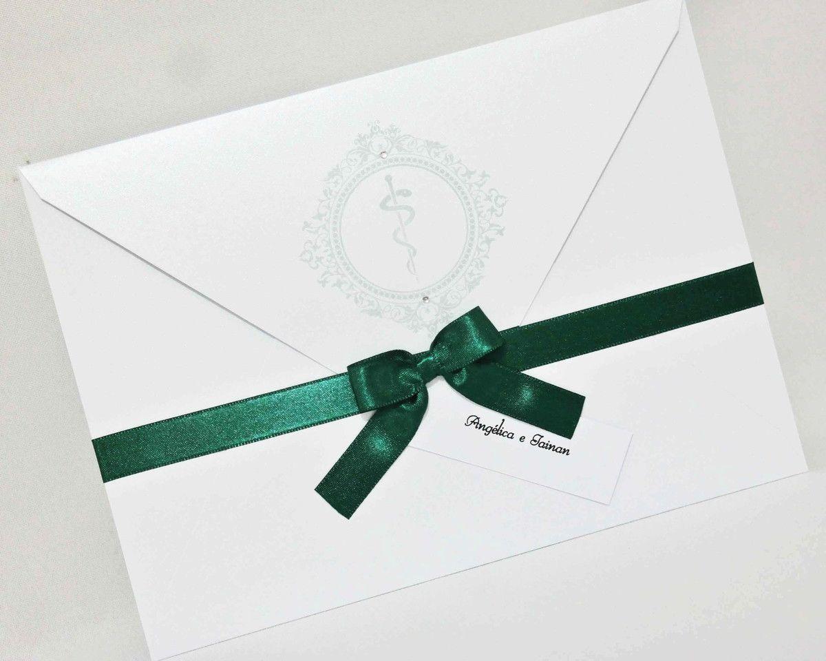 Convite de Formatura com Envelope Papel Brilhante