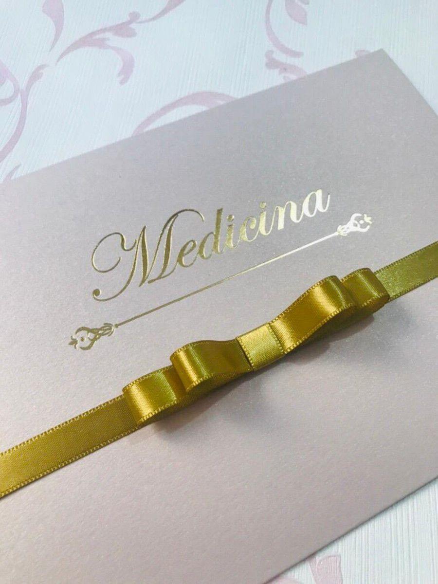 Convite para Formatura com Hot Stamping Papel Nude Brilhante