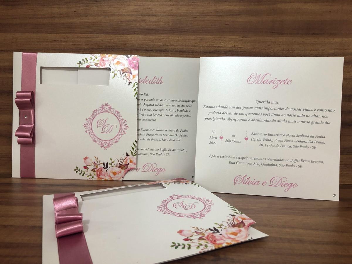 Convite para Pais e Padrinhos Floral