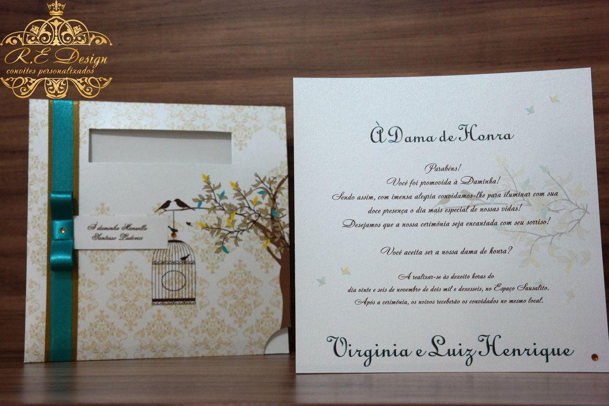 Convite para Pajem e Daminha com Envelope