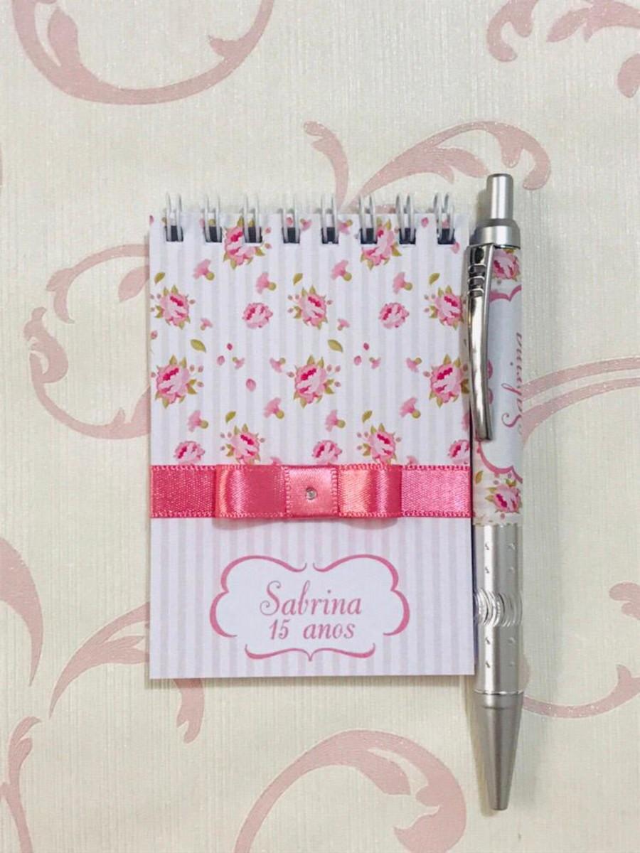 Lembrancinha de 15 anos - Bloquinho de Anotações Floral com Caneta