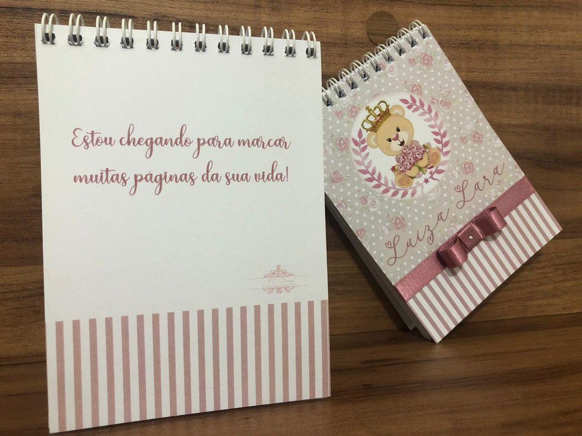 Lembrancinha de Maternidade Ursinha Princesa - Bloquinho de Anotações