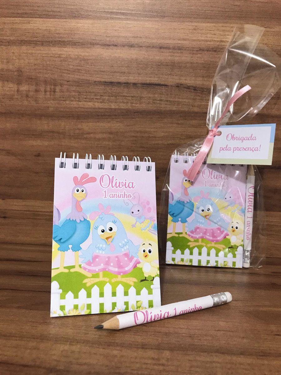Lembrancinha Infantil Galinha Pintadinha Candy Colors - Bloquinho de Anotações com Mini Lápis