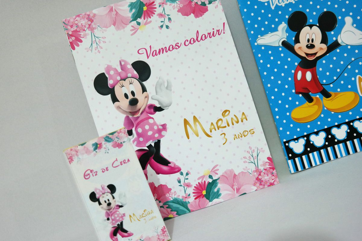Lembrancinha Infantil Kit para Colorir Mickey e Minie