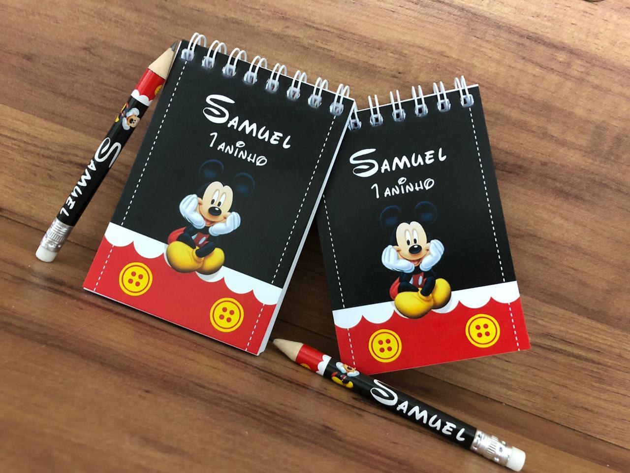Lembrancinha Infantil Mickey - Bloquinho de Anotações com Mini Lápis Personalizado