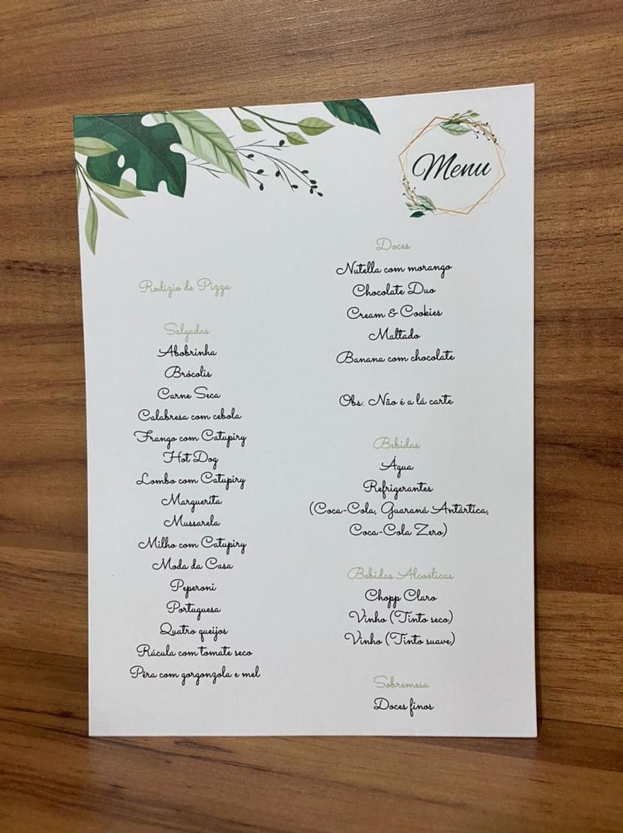Menu para Casamento