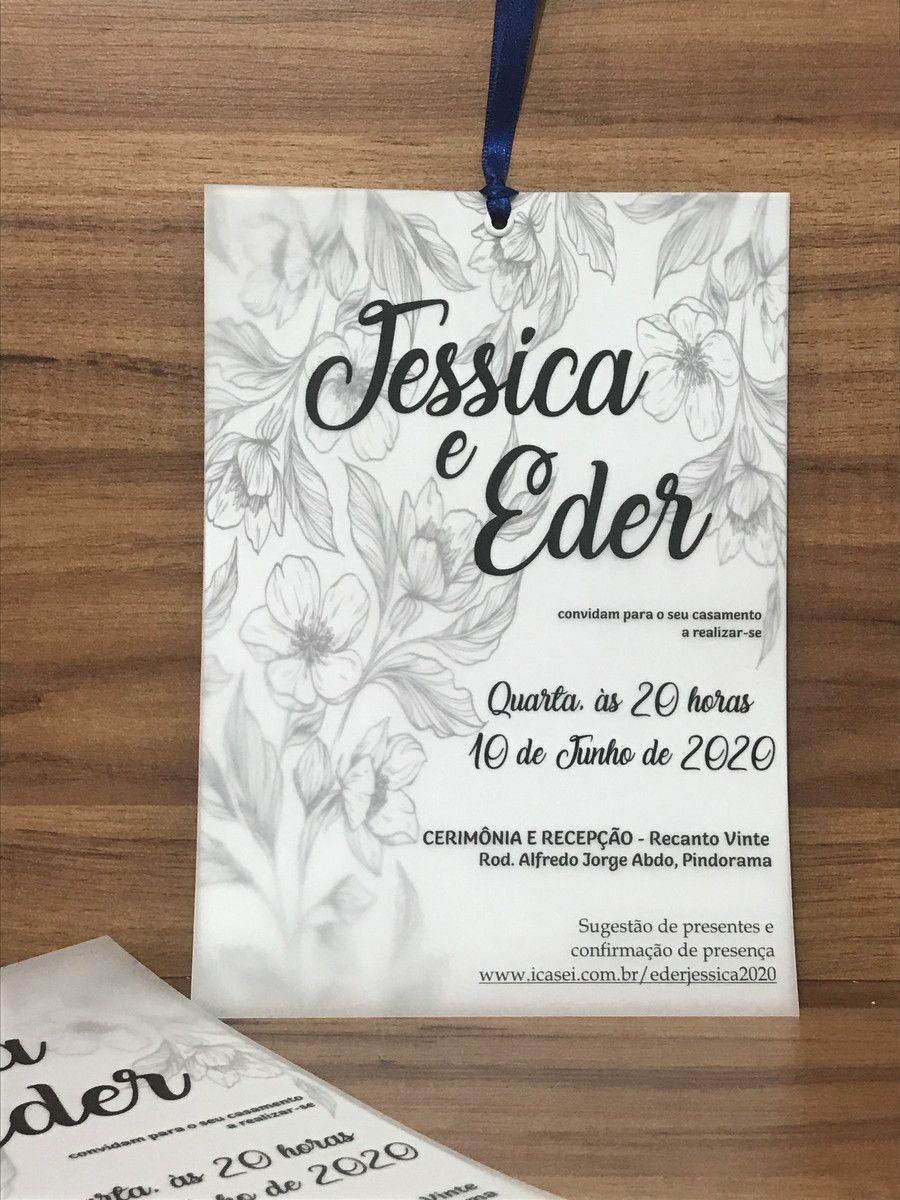 PROMOÇÃO Convite de Casamento Papel Vegetal